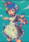 1girl alternate_costume animal_crossing animal_ears ankh ankha_(animal_crossing) black_hair blue_background blue_fur bob_cut body_fur cat_tail dress egyptian egyptian_clothes enmaided fang frown furry furry_female maid nintendo open_mouth paw_pose scarab short_hair solo starmilk striped_tail tail yellow_fur