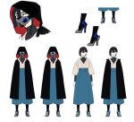 1girl arms_at_sides bangs black_cloak black_hair character_sheet cloak concept_art f_(star_wars) hair_between_eyes high_heels looking_ahead mask mouth_mask multiple_views official_art production_art robe short_hair standing star_wars star_wars:_visions tani_shiori white_background