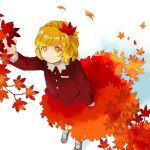 1girl aki_shizuha arm_up autumn_leaves black_footwear blonde_hair branch closed_mouth commentary dutch_angle expressionless gradient_skirt hair_ornament kaigen_1025 leaf leaf_hair_ornament long_sleeves maple_leaf orange_skirt reaching_out red_shirt red_skirt shirt short_hair simple_background skirt solo standing touhou white_background white_legwear yellow_eyes