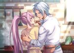1boy 1girl alphen_(tales) bangs belt blue_eyes blurry blush braid carrot cooking couple dated depth_of_field eyebrows_visible_through_hair food hand_on_another's_back highres holding holding_food kitchen ladle lettuce long_hair looking_at_another pink_hair ponytail popped_collar saucepan shionne_(tales) silver_hair sleeve_cuffs spatula steam stove sunlight tales_of_(series) tales_of_arise toraji_(tigertime) very_long_hair window