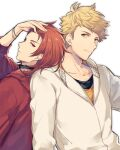 2boys back-to-back bangs blonde_hair bracelet closed_mouth granblue_fantasy green_eyes hand_in_hair hand_up hood hood_down hoodie jewelry looking_at_another male_focus medium_hair multiple_boys ono_(0_no) percival_(granblue_fantasy) red_eyes red_hoodie redhead short_hair undercut upper_body vane_(granblue_fantasy) white_background white_hoodie