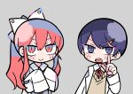 1boy 1girl bangs blush_stickers bow buttons cardigan chibi closed_eyes closed_mouth commentary grey_background grey_cardigan hair_between_eyes hair_bow hair_ornament hair_ribbon hairclip hands_on_own_chest index_finger_raised labcoat long_hair looking_at_viewer magnet nanawo_akari neck_ribbon necktie official_art ponytail red_neckwear redhead ribbon school_uniform short_necktie sidelocks simple_background sleeves_past_fingers sleeves_past_wrists sou_(niconico) terada_tera triangle turing_love upper_body v-shaped_eyebrows very_long_hair w_arms white_ribbon yellow_sweater_vest