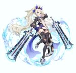 1girl absurdres bandaid bandaid_on_leg black_legwear black_panties blue_eyes breasts cancell fantasy hair_ornament hat high_heels highres holding holding_sword holding_weapon long_hair looking_at_viewer original panties platinum_blonde_hair small_breasts solo sword thigh-highs twintails underwear very_long_hair weapon white_background