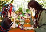 1boy 1girl ashiya_douman_(fate) bell black_hair blue_hair choker eating fate/grand_order fate_(series) fingernails highres holding holding_spoon japanese_clothes looking_at_another multicolored_hair noka_(noka8103) parfait redhead revision sei_shounagon_(fate) sharp_fingernails sharp_teeth sitting spoon sweat table teeth translation_request two-tone_hair