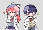 1boy 1girl bangs blue_skirt blush_stickers bow buttons cardigan chibi closed_eyes closed_mouth commentary cowboy_shot grey_background grey_cardigan grey_pants hair_between_eyes hair_bow hair_ornament hair_ribbon hairclip hands_on_own_cheeks hands_on_own_face heart labcoat long_hair looking_ahead magnet nanawo_akari neck_ribbon necktie official_art one_eye_closed pants ponytail red_neckwear redhead ribbon school_uniform scratching_cheek short_necktie sidelocks simple_background skirt sleeves_past_fingers sleeves_past_wrists sou_(niconico) sparkle terada_tera triangle turing_love v-shaped_eyebrows white_ribbon yellow_sweater_vest