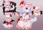 1girl :3 animal_ears animalization bat_wings bow bread cat_ears cat_tail chair chamaruku commentary_request dress dress_bow food frilled_shirt_collar frills grey_background hat hat_ribbon multiple_views paw_print_soles pink_dress puffy_short_sleeves puffy_sleeves purple_fur red_bow red_eyes red_ribbon remilia_scarlet ribbon ribbon-trimmed_clothes ribbon_trim short_sleeves simple_background slit_pupils smug solo tail touhou wings wrist_cuffs