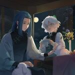 2boys animal_ears black_hair blue_flower cat_boy cat_ears chairlog flower green_eyes highres holding indoors leaf long_hair long_sleeves luoxiaohei multiple_boys open_mouth rabbit short_hair the_legend_of_luo_xiaohei vase white_hair window wuxian_(the_legend_of_luoxiaohei)