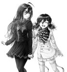 2girls ahoge artist_name bangs breasts buttons checkered checkered_scarf closed_eyes commentary danganronpa_(series) danganronpa_v3:_killing_harmony double-breasted english_commentary facing_viewer genderswap genderswap_(mtf) greyscale hair_between_eyes highres holding_hands jacket long_hair long_sleeves looking_at_another medium_breasts monochrome multiple_girls nika_kapustka open_mouth ouma_kokichi pantyhose pleated_skirt saihara_shuuichi sailor_collar scarf school_uniform skirt small_breasts smile striped striped_jacket striped_skirt teeth thigh-highs twintails watermark
