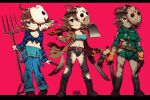 1girl :o abs ahoge axe bag_over_head bishoujo_terror blood blood_on_clothes blood_on_weapon blue_eyes breasts brown_eyes brown_jacket chibi denim evil_smile evolution eyebrows eyebrows_visible_through_hair friday_the_13th gloves green_shirt horror_(theme) jacket jason_voorhees jason_voorhees_(kotobukiya_bishoujo) jeans kain_(hurghada) knife large_breasts machete mask_over_one_eye no_pants overalls pants pickaxe pitchfork shirt signature smile torn_clothes torn_shirt transformation weapon yellow_gloves zombie