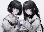2girls 402_(o0_xxx) bandage_over_one_eye bandages bangs black_hair black_undershirt blunt_bangs bob_cut closed_mouth commentary constricted_pupils dress_shirt expressionless eyepatch fish glass glasses goldfish hair_strand highres holding long_hair long_sleeves looking_at_viewer messy_hair mole mole_under_mouth multiple_girls original sailor_collar school_uniform serafuku shirt short_hair squiggle staring symbol-only_commentary turtleneck upper_body wavy_hair white_background white_eyes white_sailor_collar white_serafuku white_shirt