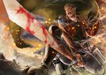 1boy abs_(ebisuzc94rghw) blonde_hair blood blood_on_face blood_on_weapon boots capelet embers foreshortening from_below green_capelet holding holding_sword holding_weapon knee_boots leather leather_boots male_focus pants reiner_braun shingeki_no_kyojin short_hair sideburns solo steam sunrise_stance sword three-dimensional_maneuver_gear weapon white_pants