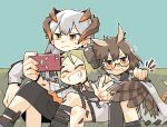 3girls arknights blush brown_eyes cellphone closed_eyes closed_mouth couch crossed_legs dragon_horns feather_hair grin hand_on_another's_shoulder highres holding holding_phone horns ifrit_(arknights) konno_akikaze long_hair multiple_girls on_couch open_mouth orange_eyes oripathy_lesion_(arknights) owl_ears owl_girl phone platinum_blonde_hair round_eyewear saria_(arknights) selfie short_hair silence_(arknights) silver_hair sitting smartphone smile taking_picture teeth