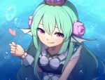 1girl :p air_bubble aqua_hair bangs bubble commentary crown english_commentary eyebrows_visible_through_hair fig_sign finana_ryugu flower hair_between_eyes hair_flower hair_ornament head_fins heart highres long_hair looking_at_viewer nijisanji nijisanji_en pink_eyes smile solo speckticuls tongue tongue_out underwater upper_body virtual_youtuber water