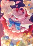 >_o :d absurdres alcremie alcremie_(berry_sweet) alcremie_(flower_sweet) alcremie_(strawberry_sweet) blue_bow blurry bow closed_eyes commentary_request food fruit gigantamax gigantamax_alcremie highres no_humans nullma one_eye_closed open_mouth pokemon pokemon_(creature) rotom rotom_phone smile strawberry
