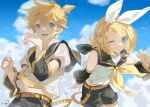 1boy 1girl arms_up bangs bare_shoulders belt belt_buckle black_sailor_collar black_shorts blonde_hair blue_eyes bow brother_and_sister buckle clouds detached_sleeves hair_between_eyes hair_bow hair_ornament hairband hairclip kagamine_len kagamine_rin lens_flare light_blush light_smile looking_at_viewer one_eye_closed open_mouth outdoors sailor_collar school_uniform serafuku short_hair short_ponytail short_sleeves shorts siblings sky swept_bangs vocaloid water_drop white_bird white_bow xiao_jiaju yellow_neckwear