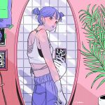 1girl blush double_bun from_side gloves highres leaf looking_at_viewer midriff mirror mole mole_under_mouth nah_(ill) original pants plant potted_plant purple_hair purple_lips purple_pants selfie solo tile_wall tiles white_gloves