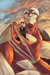 2boys armored_titan bertolt_hoover blonde_hair brown_hair carrying_person clouds cloudy_sky from_below giant giant_male highres male_focus multiple_boys nene_(10575936) reiner_braun shingeki_no_kyojin short_hair size_difference sky spoilers sunset