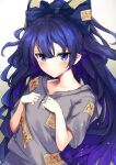 1girl absurdres bangs blue_bow blue_eyes blue_hair blush bow closed_mouth collarbone commentary_request debt ei_tantan expressionless eyebrows_visible_through_hair flat_chest grey_hoodie hair_between_eyes hair_bow hands_up highres hood hoodie long_hair looking_at_viewer ofuda ofuda_on_clothes short_sleeves simple_background solo touhou upper_body very_long_hair white_background yorigami_shion