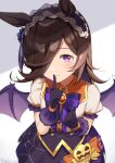 1girl absurdres animal_ears bangs black_hairband black_skirt blush bow brown_hair center_frills closed_mouth commentary_request eyebrows_visible_through_hair finger_to_mouth frilled_hairband frills hair_over_one_eye hairband halloween hand_up highres hirota_fruit horse_ears looking_at_viewer puffy_short_sleeves puffy_sleeves purple_wings rice_shower_(umamusume) shirt short_sleeves shushing skirt smile solo striped striped_bow umamusume violet_eyes white_shirt wings