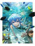 1girl blue_eyes bracelet bubble clownfish coral fish hat ikamusume jewelry sea_turtle shinryaku!_ikamusume smile suketoudara_(artist) tentacle_hair turtle underwater