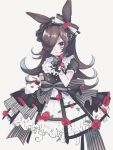 1girl alternate_costume animal_ears black_dress bow brown_hair buttons collar commentary_request crinoline cropped_torso double-breasted dress flower frilled_collar frills gloves gothic_lolita grey_background hair_over_one_eye hairband hat highres horse_ears lace lace_gloves large_bow layered_dress lolita_fashion long_hair mini_hat mini_top_hat parted_lips plant ribbon rice_shower_(umamusume) rose ruru_(rurucyan) short_sleeves simple_background sketch solo top_hat umamusume upper_body vines violet_eyes white_ribbon