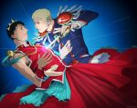 2boys alternate_costume bertolt_hoover blonde_hair brown_hair crown detached_sleeves dress eye_contact feet_out_of_frame holding holding_sword holding_weapon knight looking_at_another male_focus multiple_boys nene_(10575936) parody parody_request pulling red_dress reiner_braun sheath shingeki_no_kyojin short_hair sleeveless sword unsheathing weapon