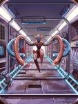 black_sclera cable colored_sclera commentary_request deoxys deoxys_(normal) eriya_raku full_body grey_eyes highres indoors light looking_at_viewer mythical_pokemon pipes pokemon pokemon_(creature) solo