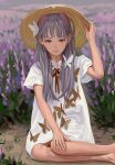 1girl animal_ears bug butterfly butterfly_hair_ornament cat_ears closed_mouth feiqizi_(fkey) fkey flower hair_ornament hair_over_shoulder hat highres lavender_(flower) long_hair looking_at_viewer neck_ribbon on_ground original outdoors red_neckwear red_ribbon ribbon shirt short_sleeves signature sitting solo white_butterfly white_shirt yokozuwari