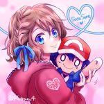1girl ash_ketchum blonde_hair blue_eyes blue_ribbon blush bow braid character_doll cropped_torso doll doll_hug eyebrows_visible_through_hair from_side hair_ribbon hat hatsuru_826 heart highres hood hoodie looking_at_viewer object_hug pink_background pokemon pokemon_(anime) red_hoodie ribbon serena_(pokemon) short_hair smile solo upper_body