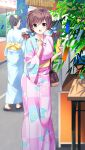 1girl :d bangs blush brown_eyes brown_hair day doukyuusei_2 doukyuusei_another_world eyebrows_visible_through_hair floral_print game_cg hair_between_eyes holding holding_pen japanese_clothes kimono long_hair long_sleeves looking_at_viewer low_twintails nagashima_kumiko official_art open_mouth outdoors pen pink_kimono print_kimono shiny shiny_hair smile solo_focus tanabata twintails