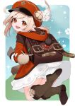 1girl :d ahoge backpack bag bag_charm bangs belt bloomers boots brown_footwear brown_gloves brown_scarf cabbie_hat charm_(object) clover_print coat commentary dodoco_(genshin_impact) e_draw_paint eyebrows_visible_through_hair from_behind genshin_impact gloves hair_between_eyes hat hat_feather hat_ornament head_tilt hooded_coat jumping klee_(genshin_impact) knee_boots kneehighs light_brown_hair long_hair long_sleeves looking_at_viewer looking_back low_twintails open_mouth pocket pointy_ears randoseru red_coat red_eyes red_headwear scarf sidelocks simple_background slime_(genshin_impact) smile twintails two-tone_background underwear vision_(genshin_impact)