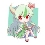 1girl bangs black_footwear border bow chibi dress ex-keine eyebrows_visible_through_hair footwear_bow full_body green_background green_dress green_hair highres holding horn_bow horn_ornament horns kamishirasawa_keine long_hair looking_at_viewer multicolored_hair open_mouth puffy_short_sleeves puffy_sleeves red_bow red_eyes red_neckwear scroll short_sleeves simple_background socks solo touhou toyomagorilla two-tone_hair white_border white_footwear