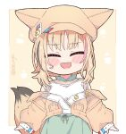 :d ^_^ blonde_hair blush_stickers chibi closed_eyes commentary english_commentary fox_girl fox_tail green_skirt hat high-waist_skirt hololive kukie-nyan multicolored_hair off_shoulder omaru_polka open_mouth pink_hair shirt short_hair skirt smile streaked_hair tail twitter_username upper_body virtual_youtuber white_shirt
