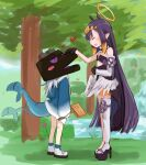 2girls :d aoi_(aoisaka) black_gloves commentary ender_dragon english_commentary fang fish_tail full_body gawr_gura gloves heart high_heels highres hololive hololive_english minecraft multiple_girls ninomae_ina'nis open_mouth petting platform_footwear pointy_ears purple_hair shark_tail signpost single_thighhigh smile standing tail tail_wagging thigh-highs very_long_sleeves virtual_youtuber white_hair