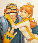 1boy 1girl artist_signature aviator_cap aviator_sunglasses biker_clothes black_eyes blue_eyes brown_hair colored crown elbow_gloves female fingerless_gloves long_hair looking_at_another looking_to_the_side male muscular_male mustache nintendo omar_dogan open_mouth princess_daisy sketch_card smirk traditional_media wario