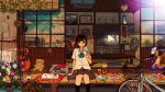 1girl :x acoustic_guitar aqua_bow aqua_neckwear arm_at_side arm_support awakumo beads bicycle black_hair black_legwear blinds blue_flower book book_stack bottle bow bowtie bug building butterfly_net cabinet calendar_(object) calico cat chair cicada closed_mouth clouds coffee_table collarbone collared_shirt commentary_request creature cup cushion drawer drink drinking_glass electric_fan evening film_grain flower flower_pot food fruit grey_skirt ground_vehicle guitar hair_ribbon hand_net hand_up hanging_light highres holding holding_food instrument kneehighs kunreishiki light_switch looking_at_viewer loose_neckwear morning_glory original outdoors phone picture_(object) pink_flower plaid plaid_skirt plant plate pleated_skirt popsicle potted_plant power_lines purple_flower ramune red_flower red_ribbon reflection ribbon romaji_text school_uniform shirt short_hair short_sleeves sitting skirt sky sliding_doors solo stuffed_animal stuffed_toy summer tassel tatami teddy_bear trellis utility_pole veranda vines watermelon watermelon_seeds white_shirt wing_collar yellow_flower zabuton