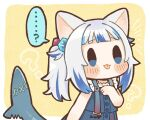 ... 1girl :p ? animal_ears bangs bare_arms black_outline blue_eyes blue_hair blunt_bangs blush_stickers cat_ears chibi commentary_request dated_commentary fish_tail gawr_gura hair_cubes hair_ornament hololive hololive_english multicolored_hair official_alternate_costume outline same_anko shark_tail side_ponytail simple_background solo speech_bubble spoken_ellipsis spoken_question_mark tail tongue tongue_out two-tone_hair virtual_youtuber white_hair yellow_background