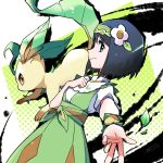 1girl ayo_(ayosanri009) bangs black_hair clenched_hand closed_mouth commentary_request dress erika_(pokemon) eyelashes flower from_side green_dress green_headband hair_flower hair_ornament hand_up headband leaf leafeon leaves_in_wind official_alternate_costume pokemon pokemon_(creature) pokemon_(game) pokemon_masters_ex shirt short_hair short_sleeves smile w white_flower white_shirt