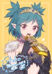 1girl black_feathers black_wings botamochi_(exwelder) breasts claws collar commentary_request commission gold_bar green_hair harpy monster_girl open_mouth original pointy_ears red_eyes short_hair short_twintails skeb_commission small_breasts solo tiara twintails under_boob winged_arms wings yellow_background
