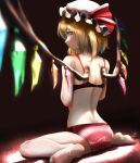 1girl ass back bare_arms bare_legs bare_shoulders blonde_hair blurry bow bra crystal depth_of_field flandre_scarlet from_behind full_body hat hat_ribbon highres looking_at_viewer looking_back medium_hair mob_cap panties red_bow red_eyes red_panties red_ribbon ribbon sitting solo strap_slip tama_(seiga46239239) touhou underwear underwear_only wariza white_legwear wings