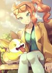 >_< 1girl bench between_breasts blurry breasts brown_coat closed_eyes coat commentary_request eyelashes eyewear_on_head fangs green_eyes green_nails green_shirt hair_ornament heart heart_hair_ornament highres long_hair long_sleeves nail_polish open_mouth orange_hair outdoors pants pokemon pokemon_(creature) pokemon_(game) pokemon_swsh ribbed_shirt rindoriko shirt side_ponytail sitting smile sonia_(pokemon) strap_between_breasts sunglasses tongue tongue_out yamper