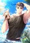 1boy arm_up armpits bangs beach bird black_hair black_shirt blue_sky closed_mouth clouds collarbone day eyebrows grey_eyes haikyuu!! hand_on_head hemoon holding holding_shell looking_at_viewer male_focus male_swimwear male_underwear miya_osamu ocean outdoors palm_tree partially_submerged seagull shell shirt short_hair sky smile solo summer swim_trunks symbol-only_commentary tree twitter_username underwear water wet