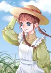 1girl apron bangs blue_eyes blue_sky bow braid brown_hair brown_shirt clouds day dress_shirt eyebrows_visible_through_hair floating_hair grin hair_bow hat hat_ribbon long_hair long_sleeves low_twintails original outdoors red_bow red_ribbon ribbon shirt sky smile solo straw_hat striped striped_shirt sun_hat tabby_chan twin_braids twintails twitter_username vertical-striped_shirt vertical_stripes white_apron yellow_headwear
