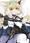 1girl animal_ears arknights bangs black_gloves blonde_hair braid bulletproof_vest commentary detached_sleeves e_draw_paint eyebrows_visible_through_hair eyes_visible_through_hair fox_ears fox_girl fox_tail gloves green_eyes hair_between_eyes hairband holding holding_staff kyuubi long_hair looking_at_viewer multiple_tails parted_lips pocket sidelocks simple_background single_glove smile solo staff suzuran_(arknights) symbol-only_commentary tail twin_braids white_background white_legwear zipper