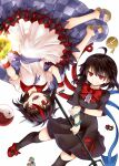 2girls ahoge arrow_print asymmetrical_wings bare_legs bare_shoulders black_dress black_hair black_legwear blue_ribbon bracelet dress five-foot_bomb holding holding_weapon horns houjuu_nue jewelry kijin_seija looking_at_viewer mary_janes miracle_mallet multicolored_hair multiple_girls nimble_fabric open_mouth orb polearm red_eyes red_footwear ribbon sandals sharp_teeth shoes short_hair simple_background smile snake streaked_hair teeth thigh-highs touhou trident upside-down weapon white_background wings wristband yin_yang yin_yang_orb zetsumame