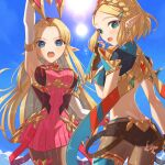 2girls adjusting_clothes aegis_sword_(xenoblade) armor ass bangs bare_shoulders bitikara black_gloves blonde_hair blush breasts cosplay fingerless_gloves gloves headpiece jewelry large_breasts long_hair looking_at_viewer multiple_girls mythra_(massive_melee)_(xenoblade) mythra_(xenoblade) mythra_(xenoblade)_(cosplay) open_mouth pantyhose pointy_ears princess_zelda pyra_(xenoblade) pyra_(xenoblade)_(cosplay) short_hair short_shorts shorts simple_background super_smash_bros. swept_bangs the_legend_of_zelda the_legend_of_zelda:_a_link_between_worlds the_legend_of_zelda:_breath_of_the_wild the_legend_of_zelda:_breath_of_the_wild_2 thigh_strap tiara very_long_hair xenoblade_chronicles_(series) xenoblade_chronicles_2 yellow_eyes