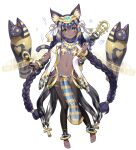 1girl :3 animal_ears ankh bangs black_hair black_legwear bracelet braid breasts cat_ears cat_tail closed_mouth clover_theater commentary_request dark-skinned_female dark_skin eyebrows_visible_through_hair full_body green_eyes hair_between_eyes hair_ribbon holding holding_wand jewelry long_hair looking_at_viewer musical_note nail_polish navel observerz official_art pantyhose pelvic_curtain ribbon sarcophagus simple_background small_breasts solo stomach tail toeless_legwear toenail_polish toenails twin_braids twintails very_long_hair wand white_background white_ribbon