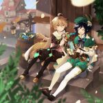 2boys absurdres aether_(genshin_impact) ahoge androgynous argyle argyle_legwear bangs barrel beret black_hair blonde_hair blue_hair bow braid brooch cape closed_eyes collared_cape collared_shirt commentary_request corset flower frilled_sleeves frills gem genshin_impact gradient_hair green_headwear hair_between_eyes hair_flower hair_ornament hat highres jewelry lantern leaf long_hair long_sleeves looking_at_another lyre male_focus multicolored_hair multiple_boys open_mouth pole scarf shirt short_hair_with_long_locks shuka_(aobane1022) simple_background sitting smile twin_braids venti_(genshin_impact) vision_(genshin_impact) white_flower white_shirt yellow_eyes
