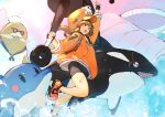 1girl anchor_symbol animal bare_legs bike_shorts brown_eyes brown_hair cabbie_hat commentary_request dolphin duplicate eyepatch facial_hair fingerless_gloves glasses gloves guilty_gear guilty_gear_strive hat heart heart_tattoo highres holding holding_weapon jacket kureta_(nikogori) may_(guilty_gear) open_mouth orange_headwear orange_jacket orca pixel-perfect_duplicate shoes skull_and_crossbones smile solo tattoo water weapon whale wide_sleeves