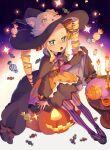 :o beatrice_(re:zero) blonde_hair candle candy cape cup dress drill_hair food frilled_dress frills halloween halloween_costume hat highres long_hair long_sleeves open_mouth parupin puck_(re:zero) pumpkin re:zero_kara_hajimeru_isekai_seikatsu ribbon teacup teapot twin_drills witch_hat